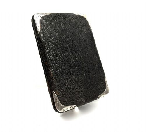 Edwardian Black Leather & Silver Wallet / Purse / Antique Fashion Hallmark 1907